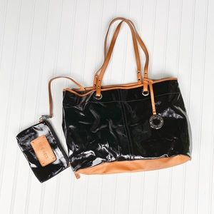 New! Nine West black patent tote and coin bag